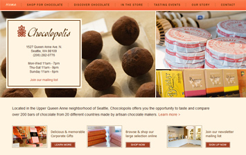 BOUTIQUE CHOCOLATE RETAIL WEBSITE, ECOMMERCE, CONTENT MANAGEMENT
