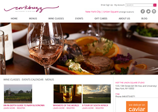 WINE BAR & WINE EDUCATION CENTER WEBSITE, CLASS REGISTRATION, BLOG, CONTENT MANAGEMENT